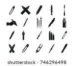 pen  pencil icon set. simple... | Shutterstock .eps vector #746296498