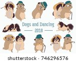 dogs and dances. year of the... | Shutterstock .eps vector #746296576