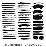 brush strokes set. paintbrush... | Shutterstock .eps vector #746297110