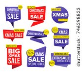 christmas sale banner set.... | Shutterstock . vector #746298823
