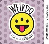 emoji weird three eyed funny... | Shutterstock .eps vector #746299168