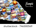background with many photos... | Shutterstock . vector #746300569