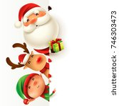 santa claus  reindeer and elf... | Shutterstock .eps vector #746303473