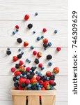 explosion of different berries. ... | Shutterstock . vector #746309629