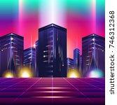 new retro wave background.... | Shutterstock .eps vector #746312368