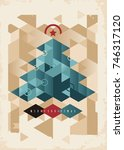 christmas card design with... | Shutterstock .eps vector #746317120