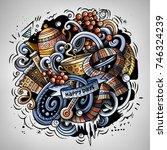 cartoon vector doodles winter... | Shutterstock .eps vector #746324239