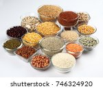 beans pulses lentils rice and... | Shutterstock . vector #746324920
