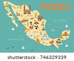 illustration map of mexico with ... | Shutterstock .eps vector #746329339