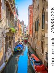 traditional narrow canal with... | Shutterstock . vector #746335228