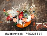 autumn floral bouquet in a... | Shutterstock . vector #746335534