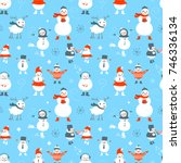cute christmas seamless pattern.... | Shutterstock .eps vector #746336134