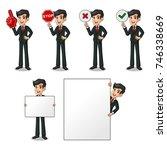 set of businessman in black... | Shutterstock .eps vector #746338669