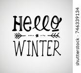 hello winter handlettering...   Shutterstock .eps vector #746339134