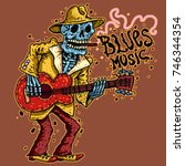 funny skeleton playing guitar. ... | Shutterstock .eps vector #746344354