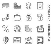 thin line icon set   card  coin ... | Shutterstock .eps vector #746345170