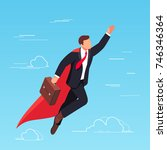 isometric businessman flying in ... | Shutterstock . vector #746346364