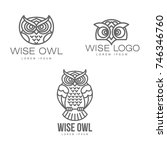 Stock vector wise hand drawn sitting wise owl owl head closeup set brand logo stylized design silhouette 746346760