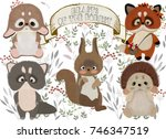 forest animals on a white... | Shutterstock . vector #746347519