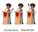 set of businessman in vest... | Shutterstock .eps vector #746349784