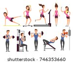 gym exercises  body pump... | Shutterstock .eps vector #746353660