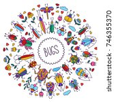 bugs insects doodle colorful... | Shutterstock .eps vector #746355370