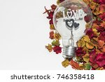 light bulb shape with colorful... | Shutterstock . vector #746358418