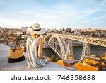 young woman tourist enjoying...   Shutterstock . vector #746358688