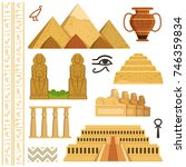 Architectural landmark of egypt. Different historical objects and symbols. Monument landmark and architecture egypt. Vector illustration | Shutterstock vector #746359834