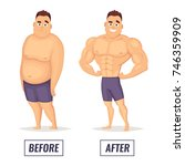 two characters fat and muscular ... | Shutterstock .eps vector #746359909