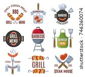 colored labels set for bbq... | Shutterstock .eps vector #746360074