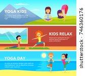 outdoor pictures of kids making ... | Shutterstock .eps vector #746360176