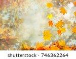 autumn leaves background | Shutterstock . vector #746362264