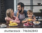 portrait of father and children ... | Shutterstock . vector #746362843