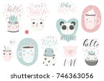 12 stickers with cute animals ... | Shutterstock .eps vector #746363056