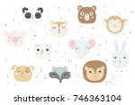 cute animals isolated... | Shutterstock .eps vector #746363104