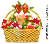 vector basket with christmas... | Shutterstock .eps vector #746365573