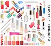 vector nails makeup cosmetics | Shutterstock .eps vector #746372659