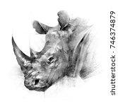 Face Painted Rhinoceros Animal...