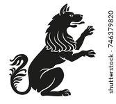 heraldic pet dog or wolf animal ... | Shutterstock .eps vector #746379820