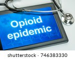 tablet with the text opioid... | Shutterstock . vector #746383330