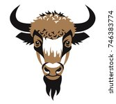 head of bison. stylized... | Shutterstock .eps vector #746383774