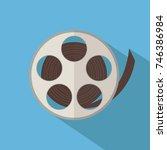 film reel isolated over blue... | Shutterstock .eps vector #746386984