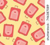 red modern valise seamless... | Shutterstock .eps vector #746387089