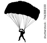 skydiver  silhouettes... | Shutterstock .eps vector #746388100
