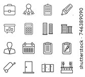 thin line icon set   portfolio  ... | Shutterstock .eps vector #746389090