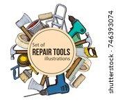 set of building repair tools ... | Shutterstock .eps vector #746393074