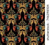 embroidery baroque seamless... | Shutterstock .eps vector #746398504