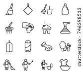 thin line icon set   broom  rag ... | Shutterstock .eps vector #746398513