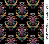 embroidery baroque seamless... | Shutterstock .eps vector #746398540